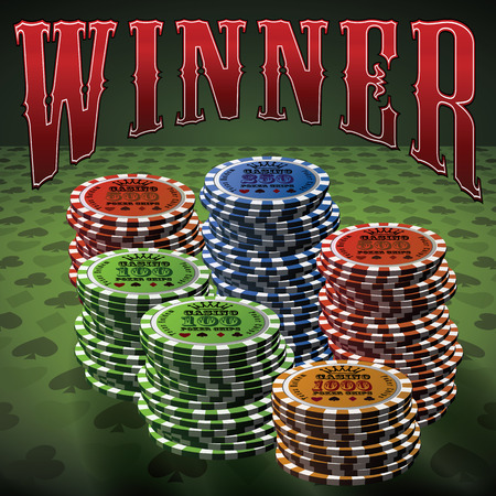 Pocker chip many green background text Winner. Vector