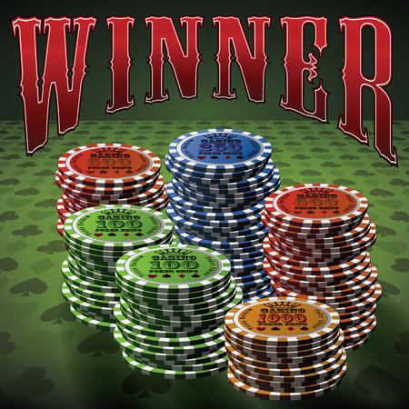 Pocker chip many green background text Winner.