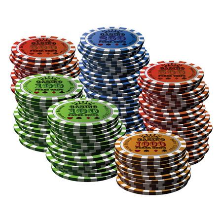 poker chip: Poker chip many isolated white background. Illustration