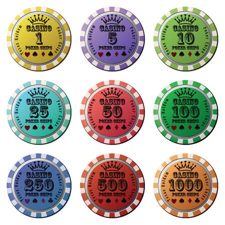 Poker chips set isolated white background. Vector
