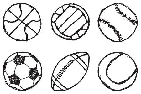 pelota de futbol: Esbozo de bola simple conjunto esboza aislado sobre fondo blanco. Vectores