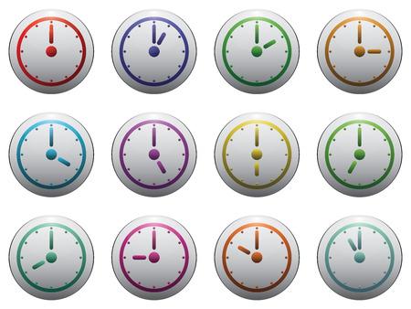 12 hour: clock symbol set color on grey isolated on white background. Illustration