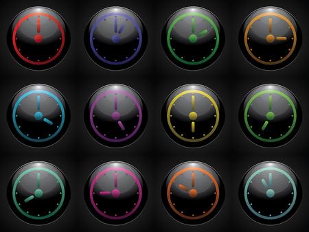 12 hour: clock symbol set color on black background. Illustration