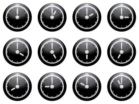12 hour: clock symbol set white on black isolated on white background. Illustration