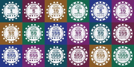 wagers: poker chips set white on color. Illustration