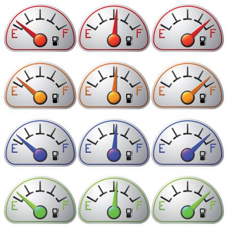 Kraftstoffmesser-Set isoliert auf weißem Hintergrund. Standard-Bild - 35017820
