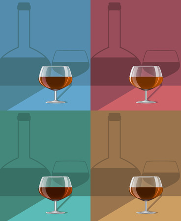 glasses of cognac set on metal stand with shadows. Vector