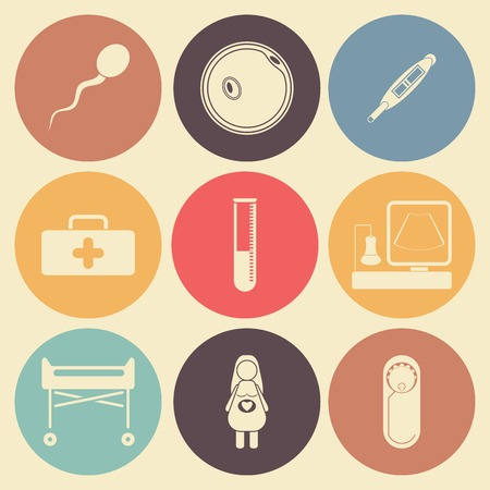 await: Pregnantcy flat icon set in color circles. Illustration