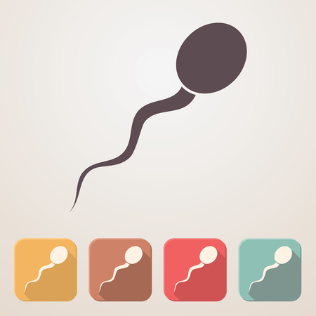 infertile: Spermatozoon flat icon set in color boxes with shadow.