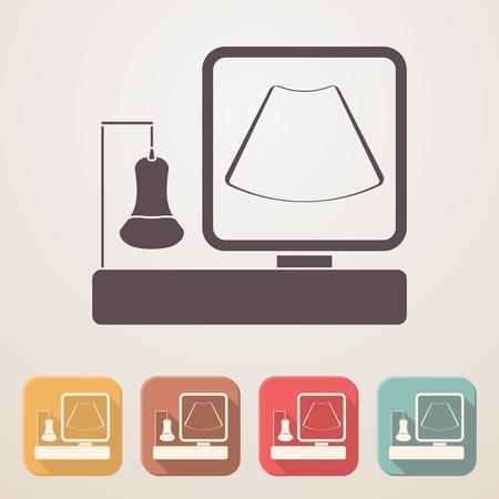 Machine à ultrasons icône plat placé dans des boîtes de couleur avec l'ombre.