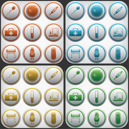 icon buttons: Pregnantcy botones de iconos planos establecidos en los c�rculos grises.