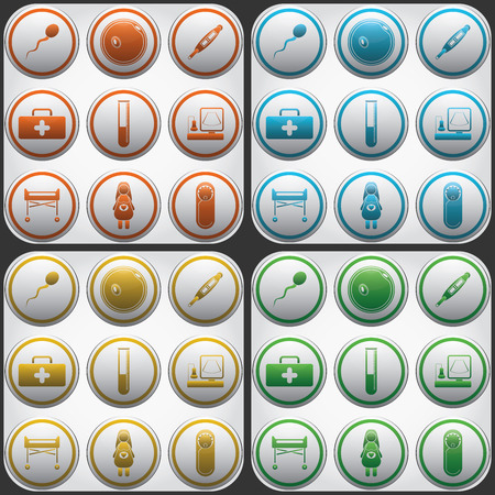 Pregnantcy flat icon buttons set in grey circles. Vector