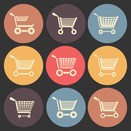 shoping: shoping cart flat icon set in color circles.