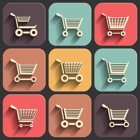 shoping: shoping cart flat icon set on color fade shadow effect
