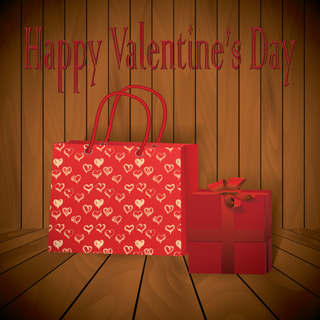 varnished: Valentine day Realistic red shopping bag with wraped present on wooden background.