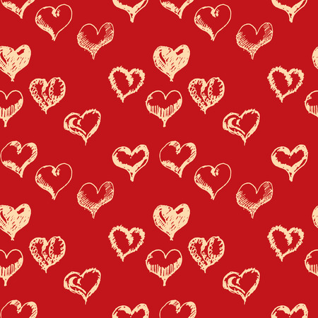 drown: Valentines day hand drown hearts seamless pattern. Illustration