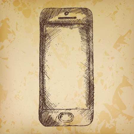 old phone: Handdrawn sketch of mobile phone front on old paper.