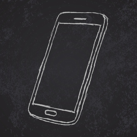 smart phone hand: Handdrawn sketch of mobile phone outlined on blackboard. Illustration