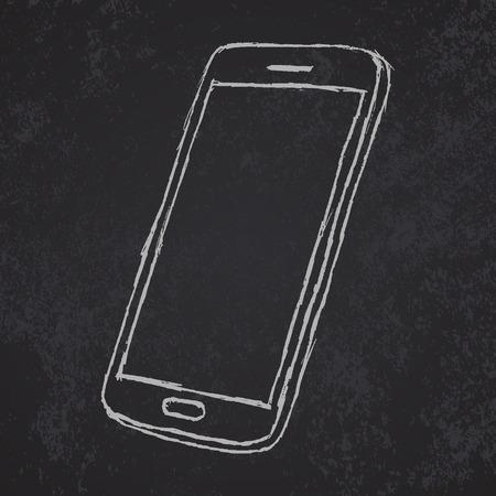 smudged: Handdrawn sketch of mobile phone outlined on blackboard. Illustration