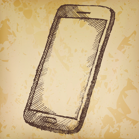 old phone: Handdrawn sketch of mobile phone with shadow on old paper.