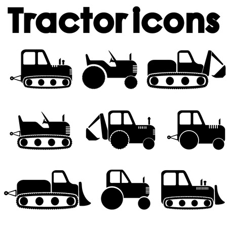 earth moving equipment: Cut Out Black Various Tractor and Construction Machinery Icon set isolated on white.