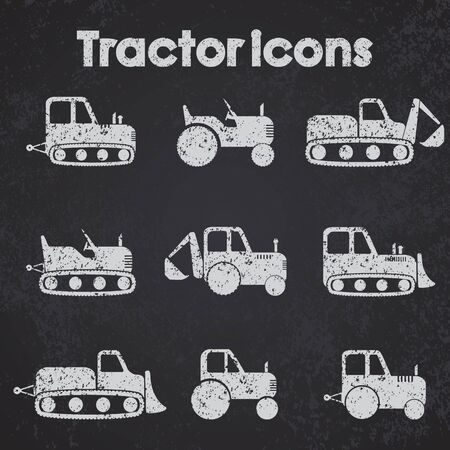 dredge to dig: Various Tractor and Construction Machinery Icon set blackboard stylized.
