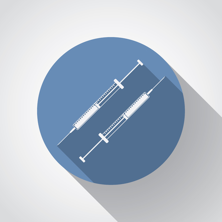 insulin syringe: insulin syringe flat icon with long shadow on blue.