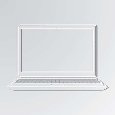 smartdigital: Laptop cut out icon on paper background.