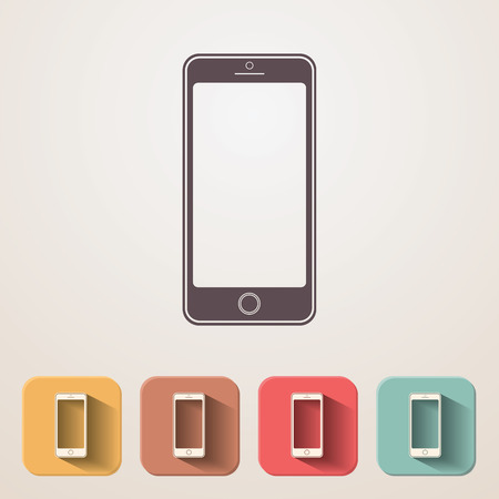 smartdigital: New smartphone flat icons set fadding shadow effect.