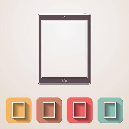 modern palmtop: Tablet flat icons set fadding shadow effect.