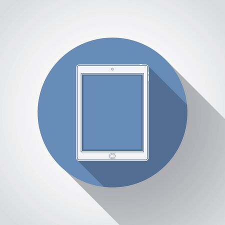 palmtop: Tablet flat icon with long shadow. Illustration
