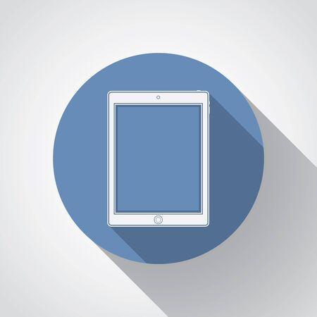 smartdigital: Tablet flat icon with long shadow. Illustration