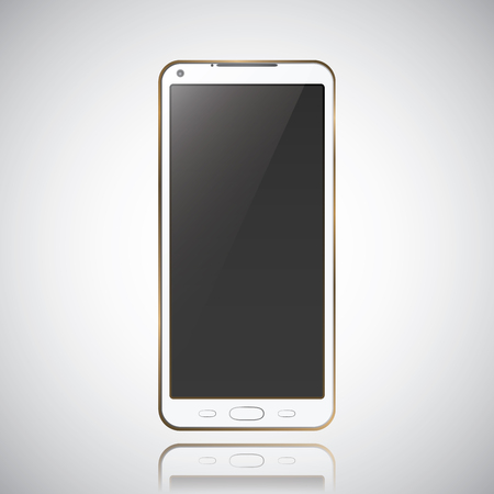 New realistic mobile phone smartphone modern style grey background with raflection. Vector