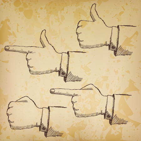 Handdrawn sketch hands set isolated on old paper. Vector