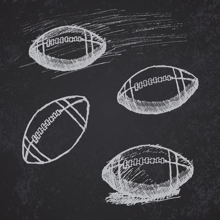 Rugby American Football sketch set on blackboard.  イラスト・ベクター素材