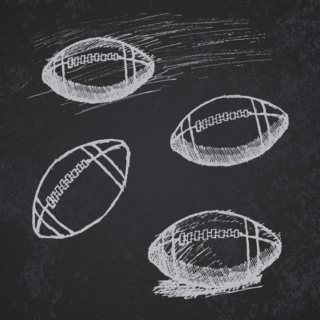 Rugby American Football sketch set on blackboard. Иллюстрация