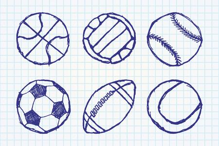outlined isolated: Boceto bola simple conjunto esboz� aislado en el cuaderno de papel. Vectores
