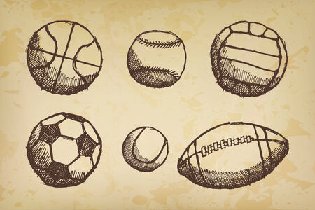 Ball sketch set with shadow on old paper. Vector