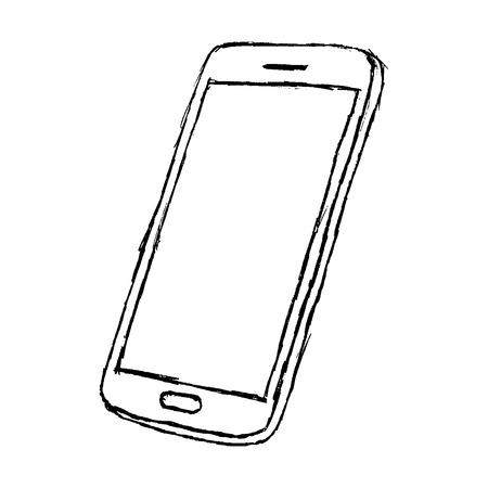 Handdrawn sketch of mobile phone outlined isolated on white background.