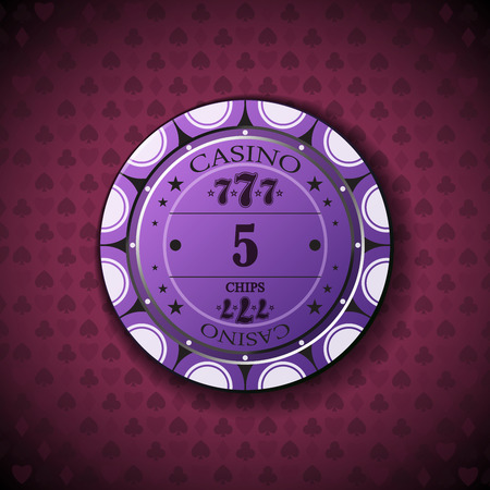 nominal: Poker chip nominal five, on card symbol background. Illustration