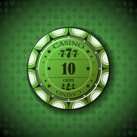 nominal: Poker chip nominal ten, on card symbol background. Illustration