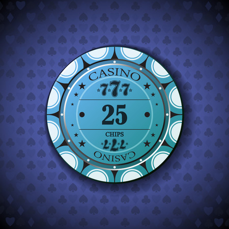 nominal: Poker chip nominal twenty five, on card symbol background. Illustration