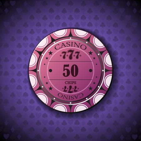 poker chip: Poker chip nominal fifty, on card symbol background.