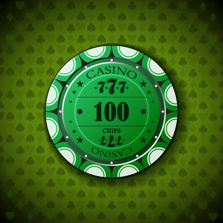 one hundred: Poker chip nominal one hundred, on card symbol background.