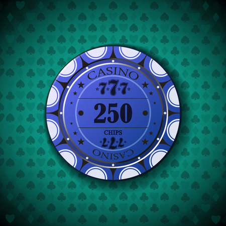nominal: Poker chip nominal, two hundred fifty, on card symbol background.
