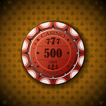 nominal: Poker chip nominal five hundred, on card symbol background.