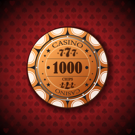 nominal: Poker chip nominal, one thousand on card symbol background. Illustration