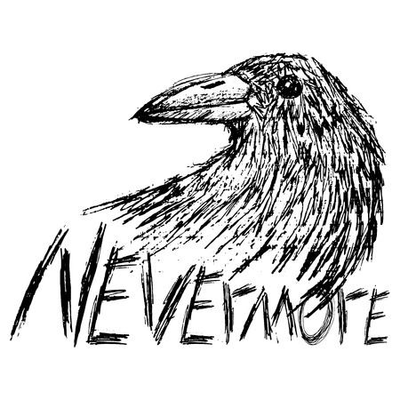 Crow raven handdrawn sketch text nevermore isolated on white. Vector