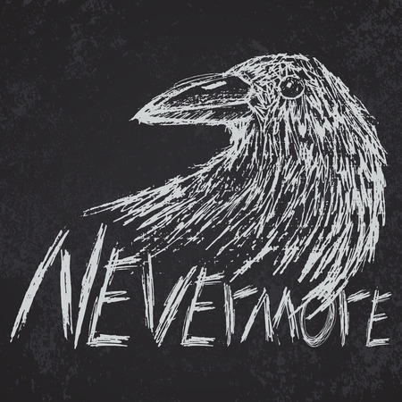 corvus: Crow raven handdrawn sketch text nevermore on blackboard. Illustration
