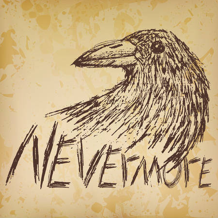Crow raven handdrawn sketch text nevermore on old paper. Vector